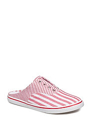 Jaida Striped Laceless Sneaker - RED/WHITE