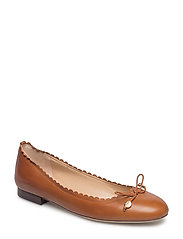 Glennie Leather Flat - DEEP SADDLE TAN