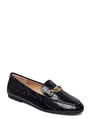 Averi Embossed Leather Loafer - BLACK