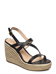 Haleigh Burnished Leather Espadrille - BLACK