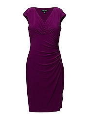 Jersey Cap-Sleeve Dress - EXOTIC FUSCHIA