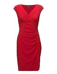 Jersey Cap-Sleeve Dress - ORIENT RED