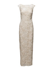 EMBROIDERED V-BACK GOWN - IVORY/GOLD META