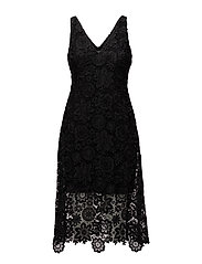 Lace Midi Dress - BLACK