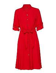 Fit-and-Flare Shirtdress - CRIMSON