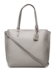 Medium Faux-Leather Abby Tote - LIGHT GREY