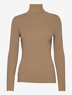 STRETCH COTTON MODL-L/S TURTLE NECK - pologenser - classic camel