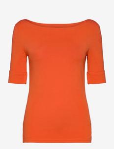 Cotton Boatneck T-Shirt - t-shirts - dusk orange