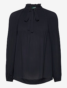Georgette Tie-Neck Top - blouses à manches longues - lauren navy