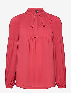 Georgette Tie-Neck Top - langermede bluser - moroccan pink