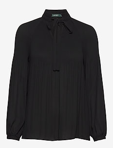 Georgette Tie-Neck Top - POLO BLACK