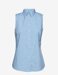 No-Iron Sleeveless Shirt - BLUE