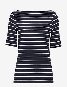RFND STRTCH 1X1 RIB-ELB SLV BT NK T - t-shirts - lauren navy/white