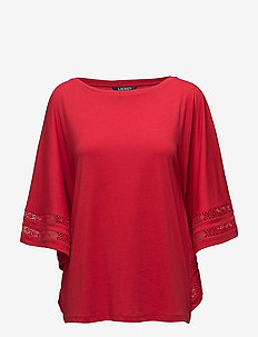 Lace-Trim Jersey Dolman-Sleeve Top - LIPSTICK RED