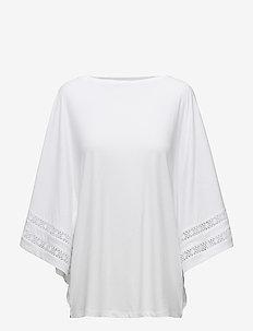 Lace-Trim Jersey Dolman-Sleeve Top - WHITE