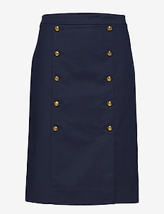 Cotton-Blend Midi Skirt - NAVY
