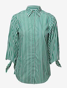 Tie-Sleeve Cotton Shirt - GREEN/WHITE