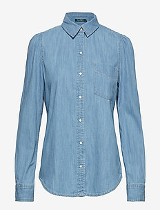 Puff-Sleeve Denim Shirt - CAMPUS INDIGO WAS
