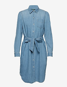 Puff-Sleeve Denim Shirtdress - CAMPUS INDIGO WAS