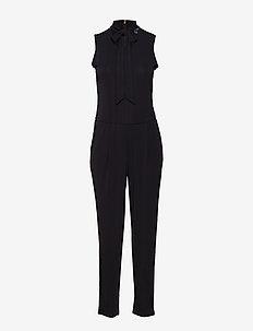 Tie-Neck Jersey Jumpsuit - POLO BLACK