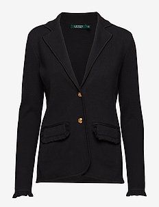Ruffle-Trim Cotton Blazer - POLO BLACK