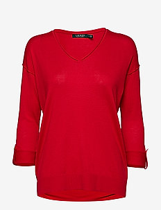 Tab-Sleeve Silk-Blend Sweater - LIPSTICK RED