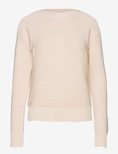 Cotton Boatneck Sweater - WHITE ROSE