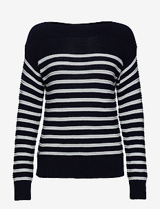 Cotton Boatneck Sweater - LAUREN NAVY/MASCA