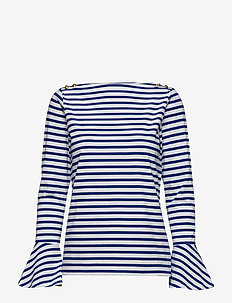 Cotton Bell-Sleeve Top - BLUE MULTI