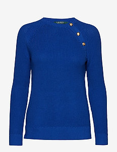 Button-Trim Cotton Sweater - BLUE OCEAN