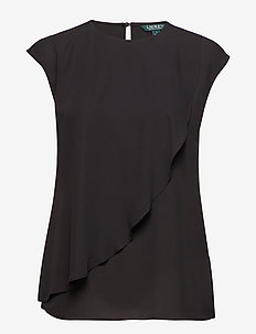 Ruffled Georgette Top - POLO BLACK