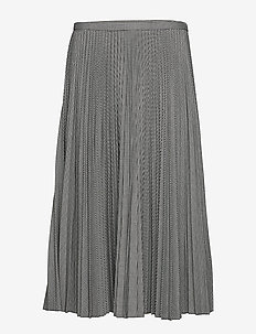 Pleated Twill A-Line Skirt - BLACK/CREAM