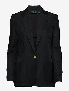 Linen-Blend Twill Blazer - POLO BLACK