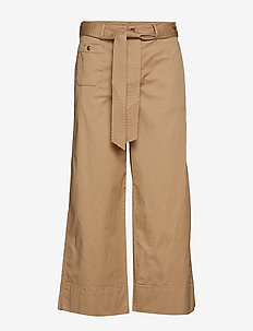 Belted Twill Wide-Leg Pant - SPRING KHAKI