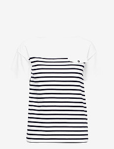Striped Cotton Boatneck Top - SILK WHITE/LAUREN