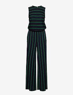 Striped Button-Trim Jumpsuit - LAUREN NAVY/CAMBR