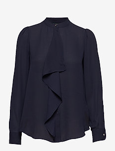 Ruffled Georgette Shirt - LAUREN NAVY