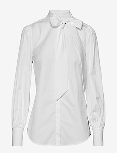 Tie-Neck Cotton Shirt - WHITE