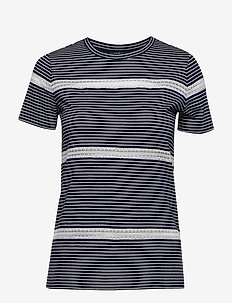 Lace-Trim Jersey Tee - LAUREN NAVY/SILK