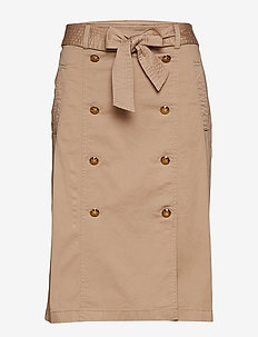 Belted Cotton Twill Skirt - SPRING KHAKI