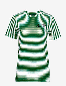 Logo Striped Cotton Tee - CAMBRIDGE GREEN/S