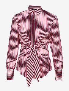 Striped Tie-Front Cotton Shirt - WHITE/LIPSTICK RE