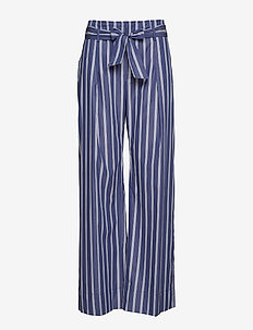 Striped Belted Cotton Pant - BLUE/WHITE