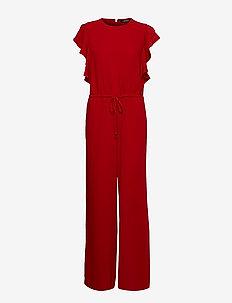Ruffle-Trim Twill Jumpsuit - LIPSTICK RED