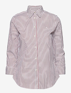 No-Iron Button-Down Shirt - WHITE/LIPSTICK RE