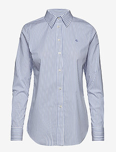 Embroidered Button-Down Shirt - BLUE/WHITE