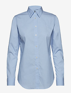 Embroidered Striped Button-Down Shirt - BLUE/WHITE MULTI