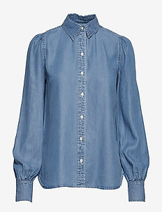Denim Bishop-Sleeve Shirt - FAIR WINDS WASH