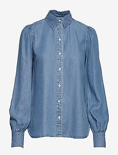 Denim Bishop-Sleeve Shirt - FAIR WINDS WASH