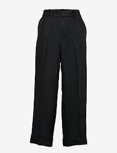 Linen-Blend Wide-Leg Pant - POLO BLACK